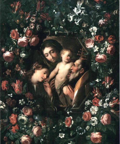 Madonna Bambino santi fiori